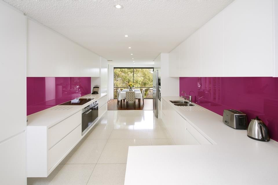 Beautiful Cuisine Blanc Mur Fushia Contemporary - Antoniogarcia